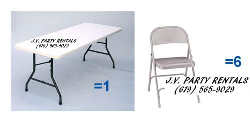 rectangular 5 ft foldable table with 6 chairs jv party rentals